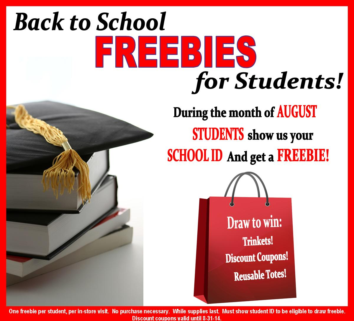 Back to School Freebies for Students